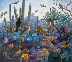Arizona Morning Song by Stephen Morath ~ birds cactus desert