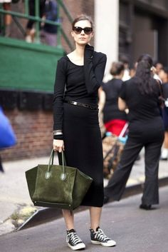 Perfect weekend style: black maxi dress, colorful carry-all tote, and Converse sneakers