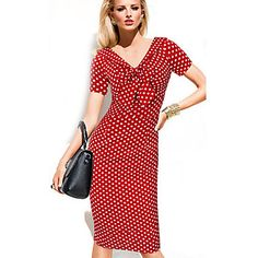 Women's Vintage Polka Dot Bodycon Dress , V Neck Knee-length Nylon 4805384 2016 – $17.99