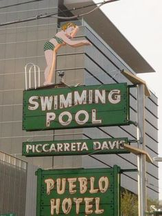 """Tucson's """"Diving Girl"""" was one of the many neon signs in limbo when signage laws prohibited businesses from restoring a vintage neon sign and re-hanging it (yes, you read that right). Hence, the many rusted neon signs around town advertising businesses that had closed long ago ~ like the Pueblo Hotel."""
