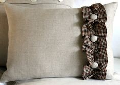 12 x 16 Pillow Cover, 100% Flax Linen with Homespun ruffle and covered buttons. $16.00, via Etsy.