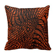 A stylish black and orange throw pillow with a funky, modern, swirly, zen-tangle style abstract print. Fabulous home decor accessory suitable for any room in your home. #zen-tangle #zen-doodle #swirls #abstract #patterned #funky #modern #orange #orange-black #black-orange #stylish-cushions #throw-pillows #orange-accents #orange-home-accessories #orange-decor