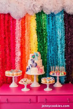 My Little Pony Birthday Party via Kara's Party Ideas KarasPartyIdeas.com Cake, decor, tutorials, recipes, favors and MORE! #mylittlepony #mylittleponyparty #ponyparty #rainbowparty #girlpartyideas (29)