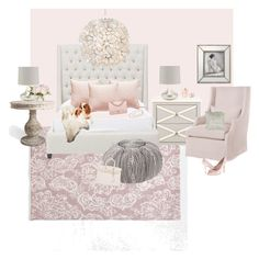 """""""Pink Luxury Bedroom Suite"""" by farmhousedesign on Polyvore featuring interior, interiors, interior design, home, home decor, interior decorating, Zara Home, Safavieh, Worlds Away and Chanel"""