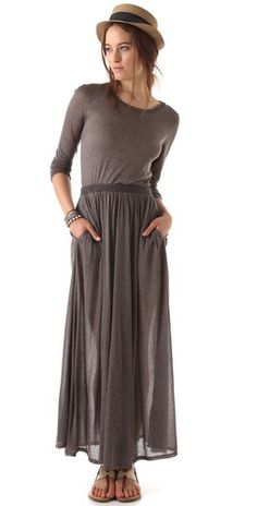 Heather - Long Sleeve Maxi Tee Dress