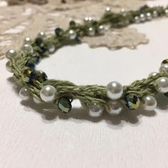 Linen beaded necklace Crochet necklace Natural