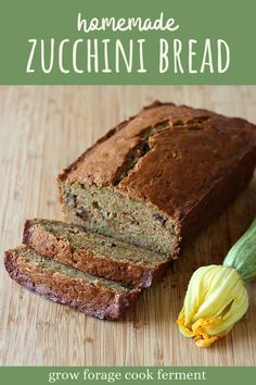 When your garden is overflowing with zucchini, make this zucchini spice bread! It's made with butter instead of oil and a lot of shredded zucchini. Healthy Homemade Snacks, Healthy Summer Recipes, Homemade Desserts, Healthy Dessert Recipes, Real Food Recipes, Baking Recipes, Snack Recipes, Healthy Foods, Breakfast Recipes