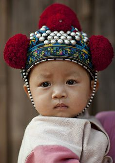 Yao Kid With A Traditional Hat, Ban Xay Leck, Laos