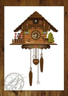A3 Cuckoo Clock digital illustration print featuring a Black Forest Cuckoo Clock. Original design, quality print.