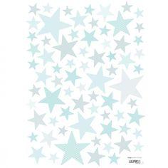 Le sticker A3 My SuperStar gentle sky by Sophie Cordier pour Lilipinso aux tonalités douces apporte un décor plein de tendresses dans une chambre d'enfant.