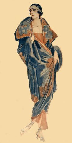 This image from the 1920s, is created using simplistic colours; this is most likely due to the era in which it was produced as there was limited media available to experiment with. The painting contains a lot of detail on the garment and minimal detailing on the face. I prefer a fashion illustration to be created in this way; with the garment as the primary focus.