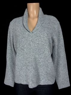 EILEEN FISHER Sweater Size L Large Blue Fleck Collared V Neck Wool Cashmere #EileenFisher #VNeck