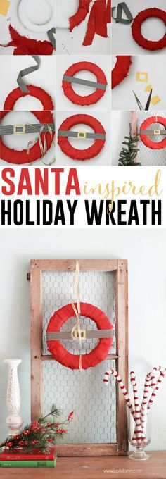 DIY Santa-inspired Holiday Wreath via LollyJane.com | Santa Wreath | Christmas Wreath Ideas