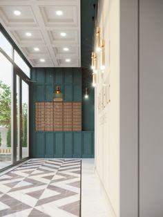 Floor Design, Ceiling Design, Apartment Mailboxes, Elevator Lobby Design, Portal, Lobby Interior, Interior Design, Apartment Entrance, Entrance Design