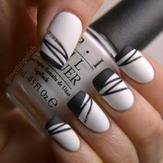 B/W nail art by Meltin'polish – Nailpolis: Museum of Nail Art