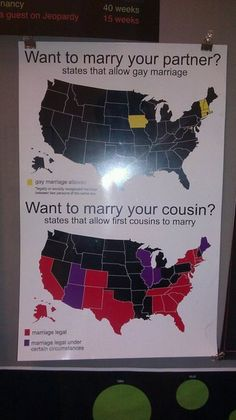 States Allowing Gay Marriage vs. States Allowing Marriage Between Cousins.
