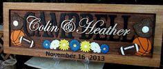 Sports & Daisies  Anniversary gift / Wedding by CarvedArtStudio511, $120.00