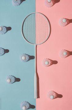 Badminton Rackets On Pink And Blue Background Stocksy United Badminton Smash, Badminton Tips, Badminton Tournament, Badminton Logo, Badminton T Shirts, Badminton Court, Olympic Badminton, Olympic Games Sports, Olympic Gymnastics