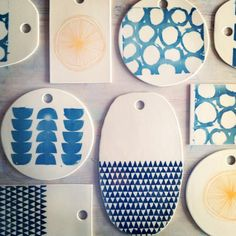 porcelain round cheese tray platter screenprinted by mbartstudios, $35.00