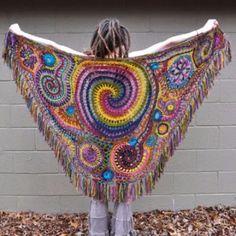 Wrapped in Rainbows Freeform Crochet Shawl // Ooak Wearable Fiber Art Poncho Au Crochet, Crochet Shawls And Wraps, Freeform Crochet, Crochet Scarves, Irish Crochet, Crochet Clothes, Free Crochet, Knit Crochet, Beautiful Crochet