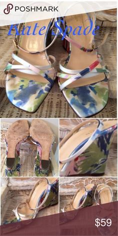 ♣️Floral Wedges♣️ Beautiful colors of sage, light Blue & Pink with cream back ground. No flaws that can be noticed. I only wore them a couple times. Kate Spade Shoes Wedges