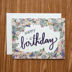 Happy Birthday Hand Lettered Flower Bomb by happycactusdesigns, $4.50