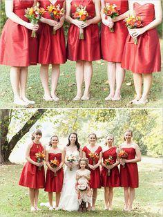 red bridesmaids dresses for fall wedding #bridesmaids #fallwedding #weddingchicks http://www.weddingchicks.com/2014/02/07/red-and-orange-fall-wedding/