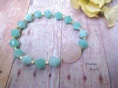 Rose Quartz Bracelet Beaded Bracelet Stretch Bracelet Aqua