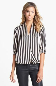 Vince Camuto Faux Wrap Stripe Blouse New Ivory