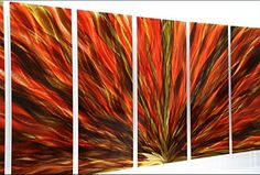 Extra Large Modern Abstract Red, Gold and Green Metal Wall Painting - Huge Contemporary Home Office Wall Decor Sculpture Art - Indian Summer Plumage XL by Jon Allen *** You can get additional details at the image link. (This is an affiliate link and I receive a commission for the sales)