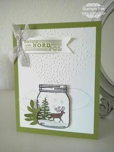 stampin Christmas Folder softly falling stamp greetigs from santa jar of haunts weihnachten grüße vom Weihnachtsmann leise rieselt prägeform