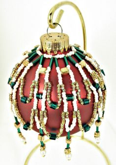 Green Gold and Pearl Beaded Christmas Ornament by BeadsGalore2,