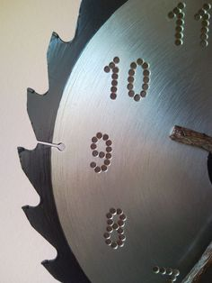 unique wood clock | Recycled circular saw blade wall clock with bough clock hands