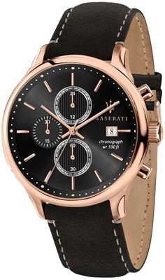 Crown And Buckle, Maserati, Stainless Steel Case, Quartz Watch, Chronograph, Gentleman, Watches For Men, Rose Gold, Stuff To Buy