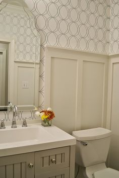 Allen-Roth-White-Silver-Circles-Wallpaper-bath Martha Stewart Seal Harbor Vanity Wainscoting step by step Board and Batten