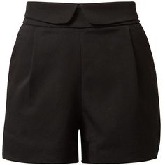 Cutie Black Fold DownTextured Pleated Shorts (77 BRL) ❤ liked on Polyvore featuring shorts, bottoms, crop shorts, mini shorts, woven shorts, tailored shorts and fold over shorts