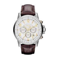DKNY GENTS STAINLESS STEEL & BROWN LEATHER ROUND CHRONO WATCH £185