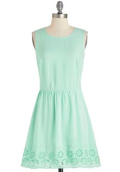 Just Mint to Be Dress by Jack by BB Dakota - Woven, Mint, Solid, Eyelet, A-line, Sleeveless, Better, Scoop, Casual, Pastel, Short, Show On Featured Sale