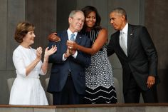 See More photos on Michelle Obama and George W. Bush Tender moment, nation goes wild, Michelle Obama wrapped her arms around the former president at the opening of the National African American History and Culture Museum Black Presidents, American Presidents, George W Bush, First Ladies, Barack Obama Family, African American Museum, Barack And Michelle, Time Magazine, Former President