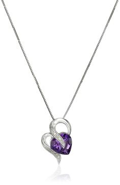 10k Gold Gemstone and Diamond Accent Heart-Shape Pendant Necklace, 18' * To view further for this item, visit the image link.