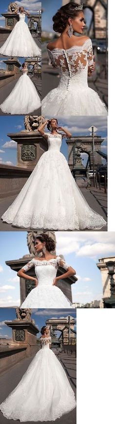 Elegant Free Custom Lace Short Sleeves Gorgeous Popular Wedding Dress
