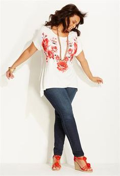 Plus Size Coral Crochet. like this top a lot.  Paired with denim.  but not LOW CUT jeans.  Love the coral/pink on white.