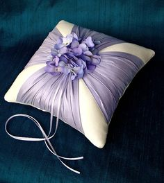 Lavender Silk Sash Hydrangea Ring Bearer Pillow Taylor Me Pretty Ring Bearer Pillows, Ring Pillows, Throw Pillows, Wedding Ring Cushion, Wedding Pillows, Deco Originale, Ribbon Embroidery, Purple Wedding, Bridal Accessories