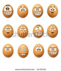 stock photo : set egg face