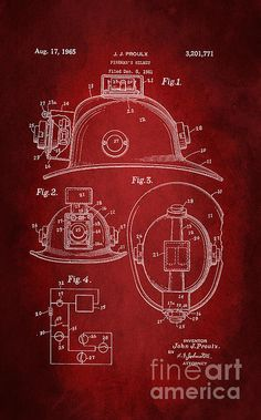 Vintage Patent art of Fireman's helmet. Prints are available at www.patlintnerfineart.com