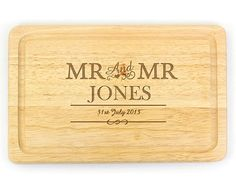 Newlywed gift: This personalised 'Mr & Mrs' chopping board is the perfect newlywed treat to yourselves. Personalised with your name and wedding date, you can make sure your husband never forgets to cook a romantic anniversary meal! Personalised Gift Shop, Personalised Christmas Baubles, Personalized Wedding Gifts, Cheese Board Wedding, Personalised Chopping Board, Chopping Boards, Mr And Mrs Wedding, Engraved Gifts