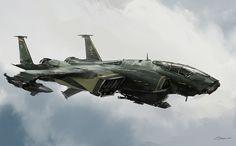 Science Fiction — rhubarbes:   ArtStation - Heavy fighter, by Darek...