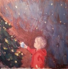 The Magic of Christmas for Child Original Oil Painting, painting by artist Heidi Malott