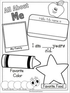 About Me Page Erin, does this look familiar to you? I feel like we filled out this exact one when we were little!Erin, does this look familiar to you? I feel like we filled out this exact one when we were little! All About Me Preschool Theme, Preschool Themes, Preschool Lessons, Preschool Classroom, Preschool Learning, All About Me Activities For Preschoolers, All About Me Crafts, All About Me Art, Back To School For Preschoolers