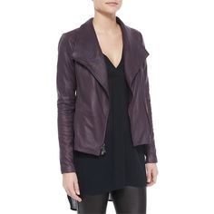 Pre-owned Vince Leather Scuba In (plum) Size Lg Retail Price = Nwt... ($420) ❤ liked on Polyvore featuring outerwear, jackets, tailor leather jacket, light weight jacket, draped leather jacket, zip jacket and plum leather jacket